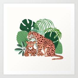 Blush Jaguars #illustration #wildlife Art Print