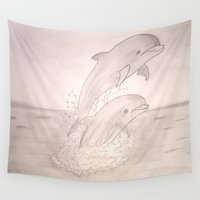 dolphins Wall Tapestries featuring Dolphins by Shahadjef