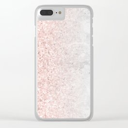 Blush Pink Sparkles on White and Gray Marble Clear iPhone Case