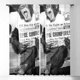 Space Chimp Lives - NASA Moon Flight black and white photograph Blackout Curtain