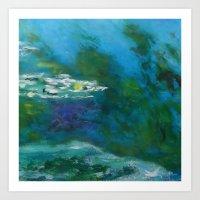Green - Blue Monet´s Theme of Waterlilies Art Print