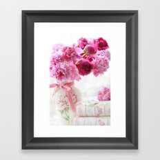Romantic Pink and Red Peonies Framed Art Print