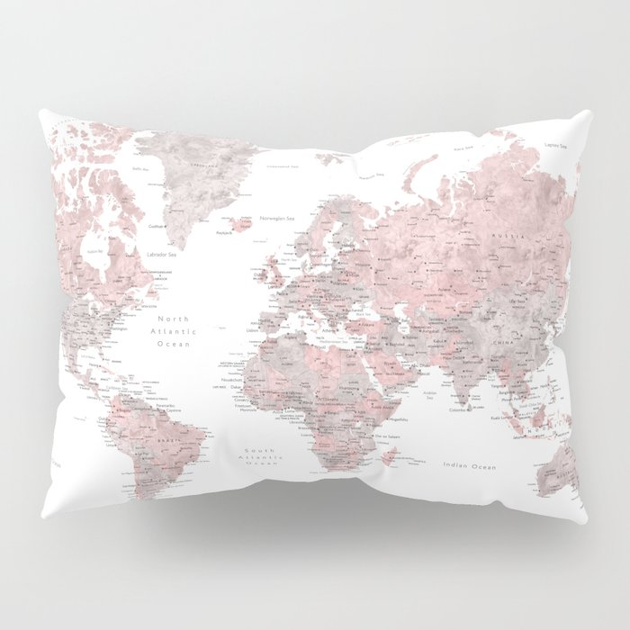 Dusty Pink And Grey Detailed Watercolor World Map Pillow Sham By