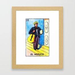 El Musico Mexican Loteria Bingo Card Framed Art Print