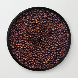 Background of grains of roasted coffee close-up Wall Clock