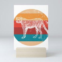 Vintage Cheetah Lover Retro Big Cat Silhouette Gift Mini Art Print