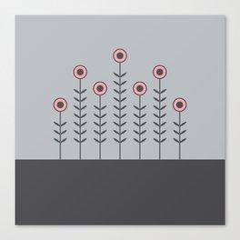 Spring Shoots (Charcoal Black, Dove Grey, Vintage Rose) Canvas Print