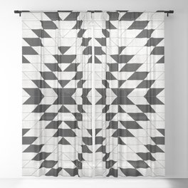 Urban Tribal Pattern No.15 - Aztec - White Concrete Sheer Curtain
