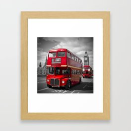 LONDON Red Buses on Westminster Bridge Framed Art Print