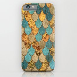 Oceanic Blue Gold Mermaid Scales HJYLY iPhone Case
