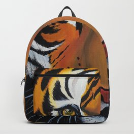 Tiger, acrylic on canvas Backpack
