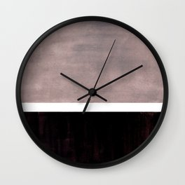 Mid Century Modern Minimalist Art Colorblock Rothko Inspired Squares Grey and Black Simple Abstract Wall Clock