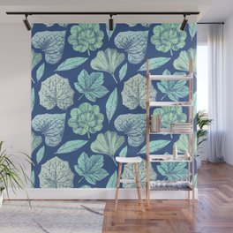 TEAL BLUE LEAVES Wall Mural