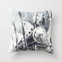 train Throw Pillows featuring Train by Grim Dream Art