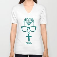 religion V-neck T-shirts featuring Money Over Religion  by Dr. Idol. Clothing