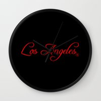 los angeles Wall Clocks featuring Los Angeles by No Zonies