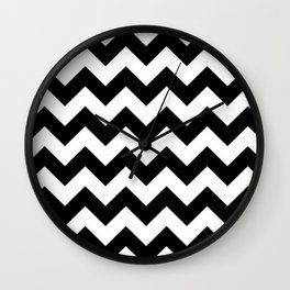 BLACK AND WHITE CHEVRON PATTERN - THICK LINED ZIG ZAG Wall Clock