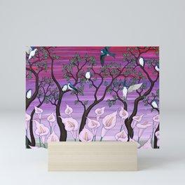 calla lilies & tree swallows Mini Art Print