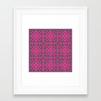 gray pattern Framed Art Prints featuring Magenta Gray pattern by xiari