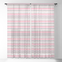 Gray and Pink Striped Pattern Sheer Curtain