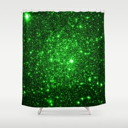 gAlAXy Green Sparkle Stars Shower Curtain