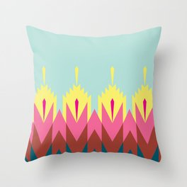 Tribal Feather Pattern Robin Egg Blue Throw Pillow