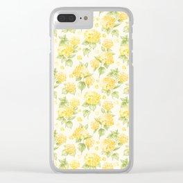 Modern  sunshine yellow green hortensia flowers Clear iPhone Case