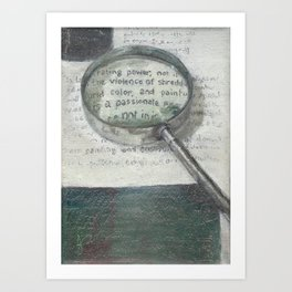 'The Testy Text' Magnifying Glass Wording in Book Literature Green and White Art Print