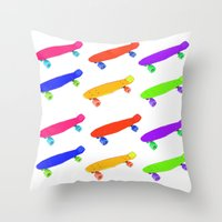 skateboard Throw Pillows featuring Skateboard Pattern by Jaime Cartwright