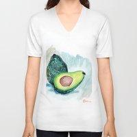 avocado V-neck T-shirts featuring Avocado by Elena Sandovici