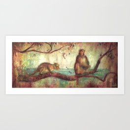 Indian monkeys. Macacos. Animals Art Print