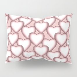 Hearts with lace trim. Pillow Sham