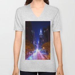 New York Night Life Unisex V-Neck