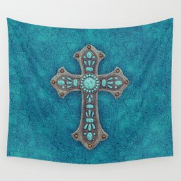 Turquoise Rustic Cross Wall Tapestry