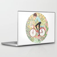 cycling Laptop & iPad Skins featuring Summer Cycling by foxflowers
