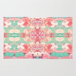 Pink Floral Teal Fashion Kaleidoscope Pattern Rug