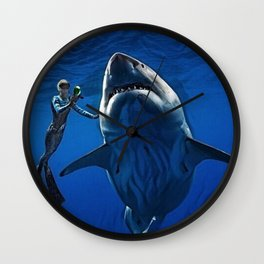 Cold Beauty - Woman Scuba Diving with Great White Shark Portrait Painting Wall Clock