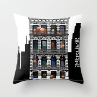 donkey kong Throw Pillows featuring Donkey Kong City by Ryan Huddle House of H