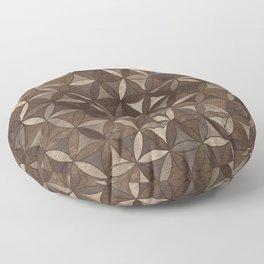 Flower of life pattern - Wooden Texture Floor Pillow