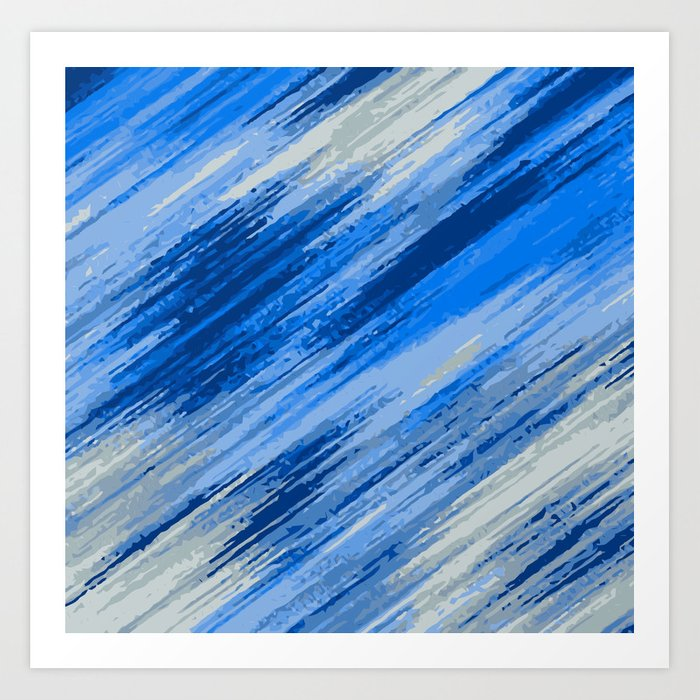 Blue And Dark Painting Abstract With Grey Background Art Print