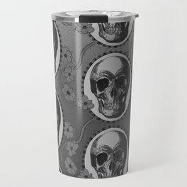 Skulls and Poppies - Antique Vintage Floral Skeleton Pattern Travel Mug