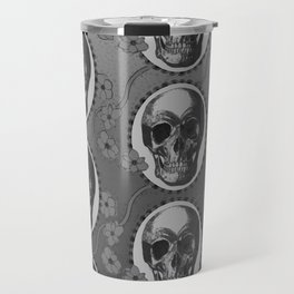 Skulls and Poppies - Antique Vintage Floral Skeleton Pattern Travel Mug