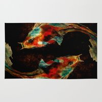 koi Area & Throw Rugs featuring Koi by James Peart