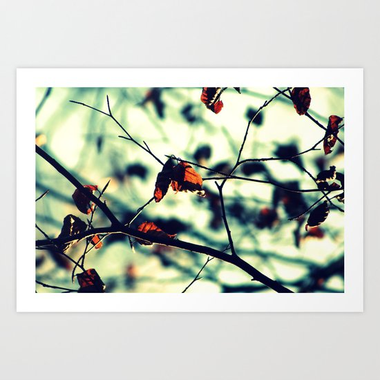 Aqua Leaves Art Print