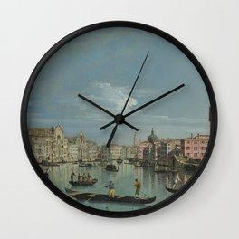 Bernardo Bellotto - Venice - The Grand Canal Facing Santa Croce Wall Clock