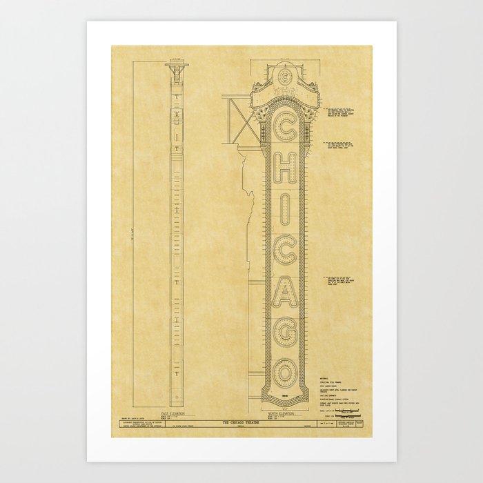 Chicago Theatre Blueprint Kunstdrucke