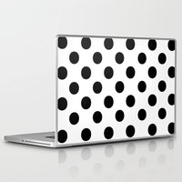 polka dots Laptop & iPad Skins featuring Polka Dots (Black/White) by 10813 Apparel
