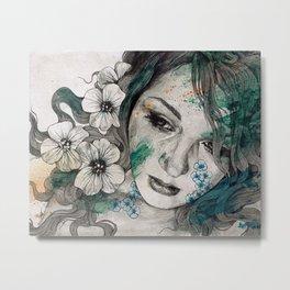 Cleopatra's Sling (flower tattoo lady portrait drawing) Metal Print