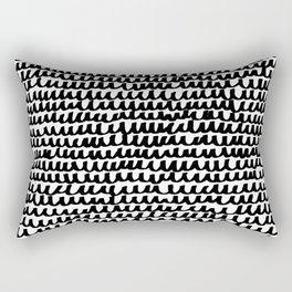 Black Wave Lines on White Rectangular Pillow