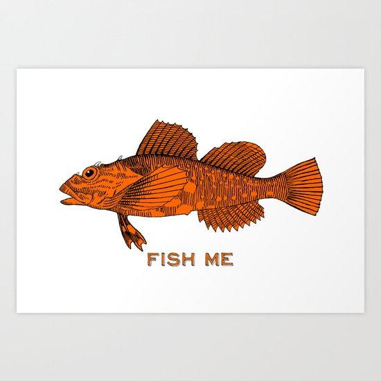 Fish me art print by antoine society6 for Big fish screen printing